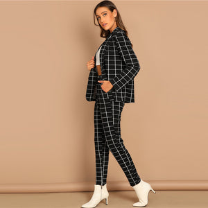 Women Black Stretchy Grid Print Shawl Collar Plaid Long Sleeve Blazer Pants Set (wo1)