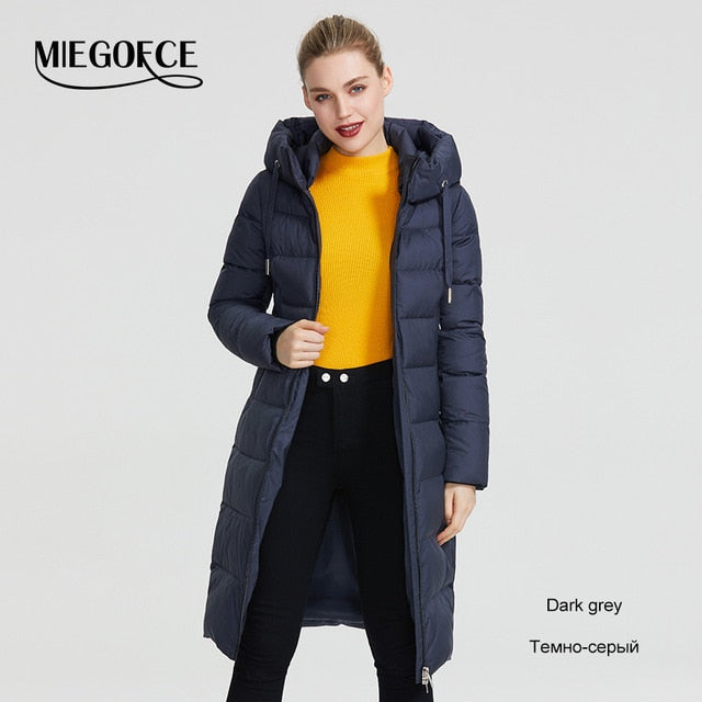 Women Winter Coat Jacket Below Knee Length Warm Coat With Hood Protect From Wind Cold (wo1) - MARI MAR SHOP