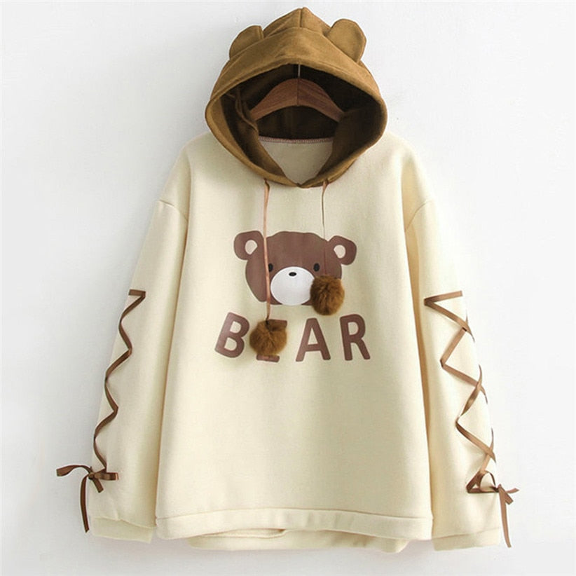 Women Bear Print Ear Hoodie Sweatshirt (Not thick) (wo1) - MARI MAR SHOP