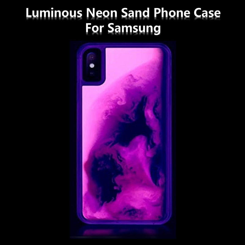 Noctilucent Neon Sand Quicksand case for samsung galaxy S10E S9 plus A9 A8 note 8 9 J8 J6 A70 A50 30 20 Dynamic Liquid cover - MARI MAR SHOP