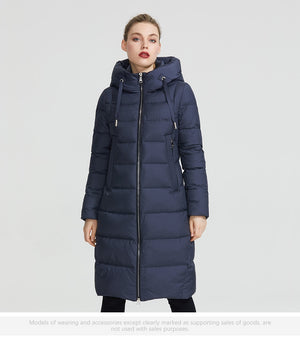 Women Winter Coat Jacket Below Knee Length Warm Coat With Hood Protect From Wind Cold (wo1)