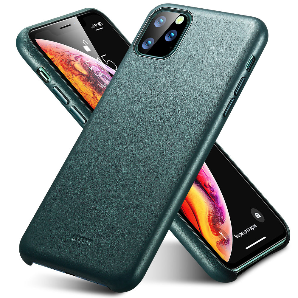 ESR Case for iPhone 11 Pro Max Leather Case Cover  Black Green Genuine Leather - MARI MAR SHOP