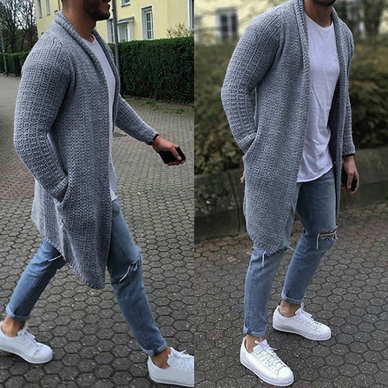 Men Cardigan Long Sleeve Knitted Sweaters Autumn Slim Fit Sweater Overcoat (tm1) - MARI MAR SHOP