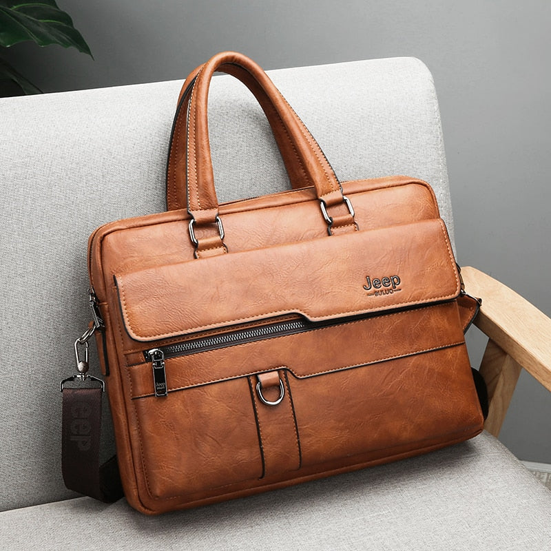 Men Briefcase Bag High Quality BusinessLeather Shoulder Messenger Bags 14 inch Laptop - MARI MAR SHOP