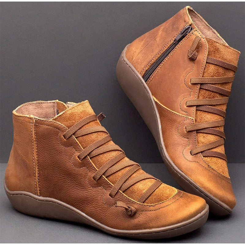 Women's Short Ankle Boots  PU Leather Zip Vintage Ladies Flat Cross Strap  Boots - MARI MAR SHOP