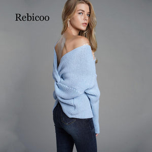 Women Autumn Winter Sexy Backless Sweater Cross Pullover (wo1) - MARI MAR SHOP