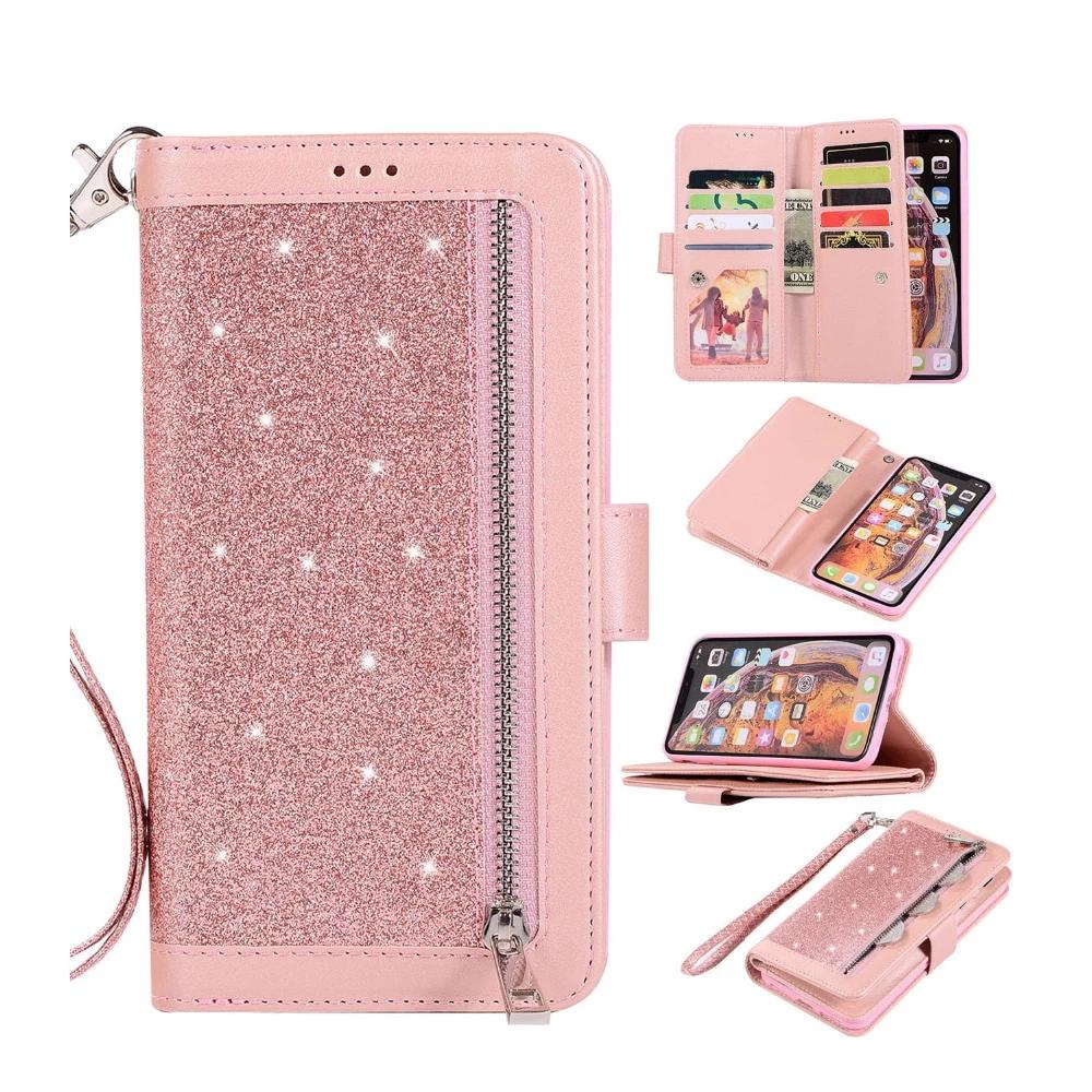 Flip Wallet Cover Leather Glitter Luxury Wallet Case For  iphone X XS MAX XR 6 7 8 plus - MARI MAR SHOP