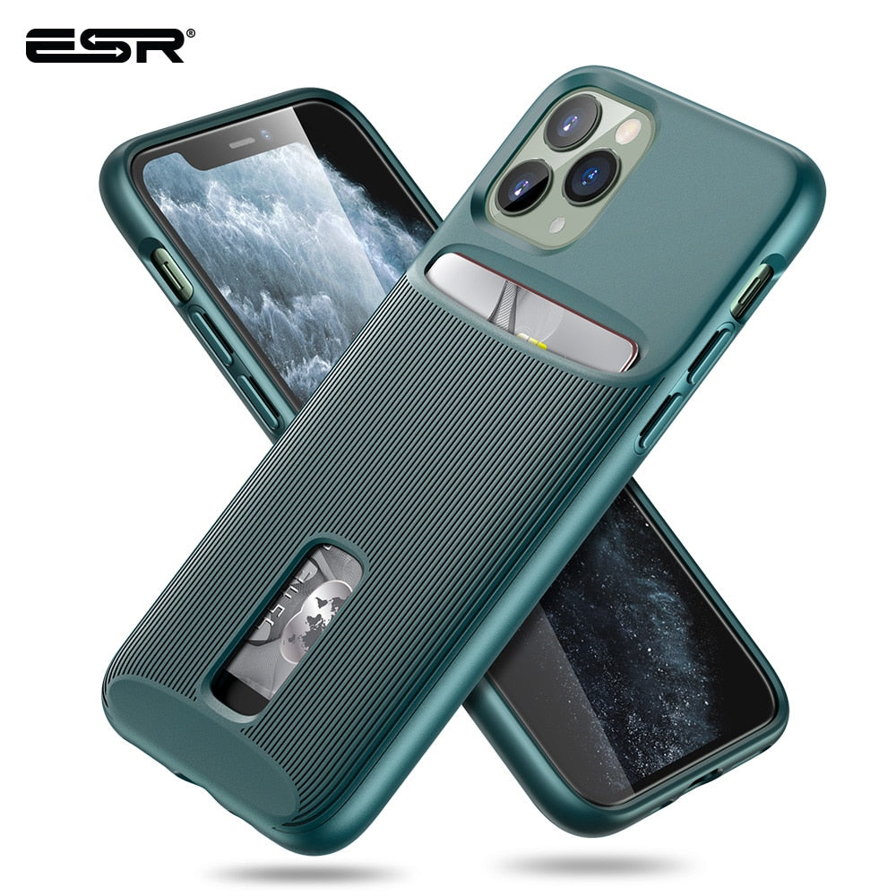 iPhone 11 Pro Max Card Holder Case Wallet Brand Green Business TPU PC  Protective Cover (CS1) - MARI MAR SHOP