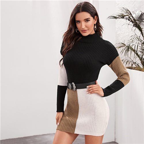 Women Autumn Winter Elegant Pencil Dresses Cut and Sew Bodycon Sweater Dress (wo1) - MARI MAR SHOP