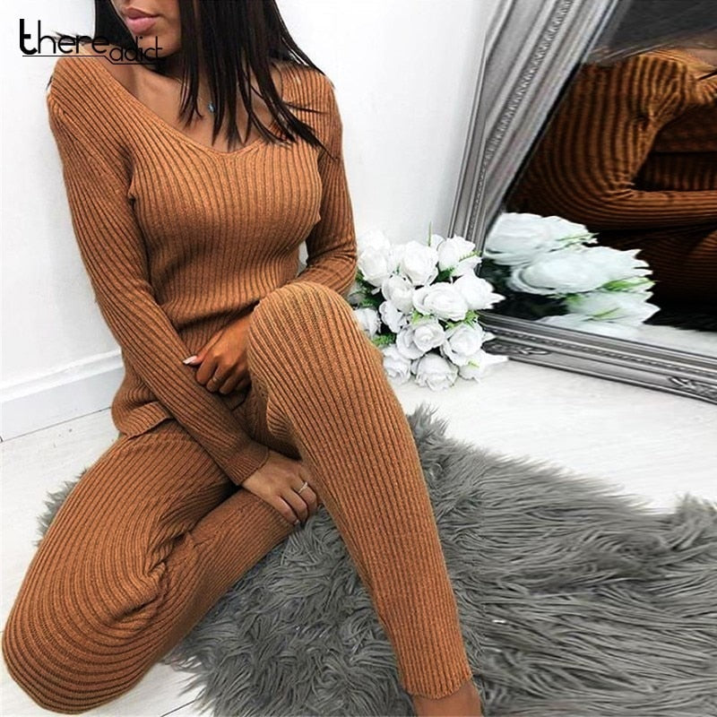 Women Suit Skinny Casual Sweater 2 Piece Set Top And Pants Long Sleeve Split  (wo1)