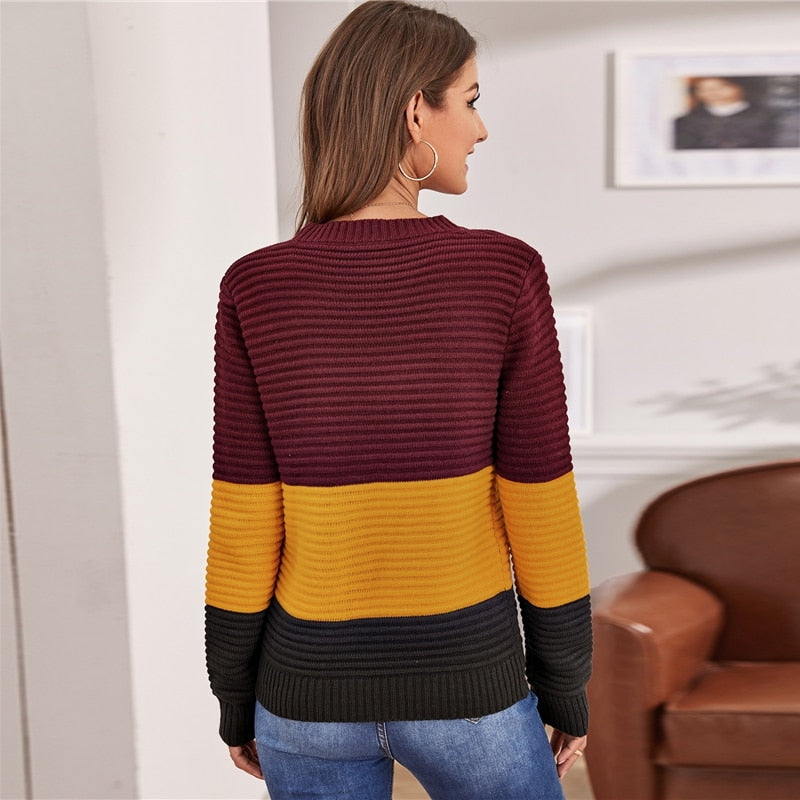 Women Multicolor Rib-knit Soft Warm Sweater Autumn Winter (wo1) - MARI MAR SHOP