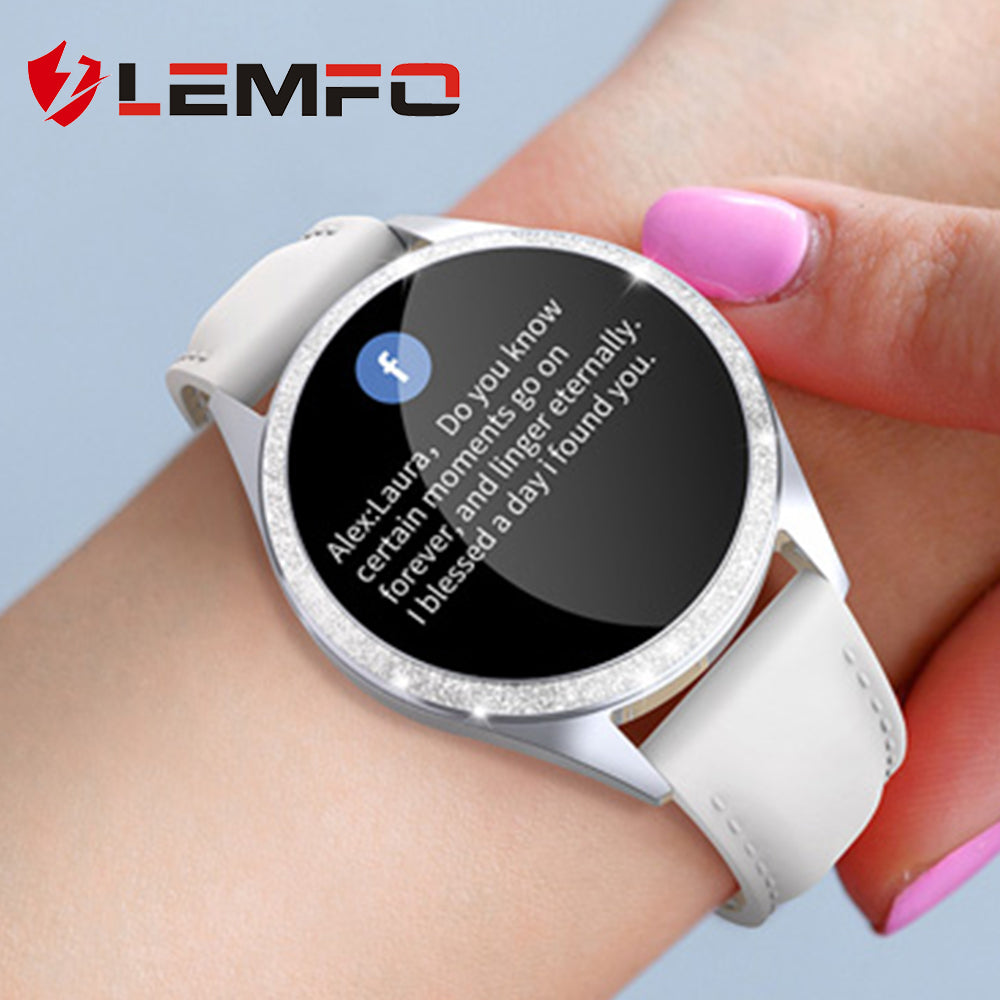 LEMFO Women Smart Watch Heart Rate Monitor Physiological Reminder IP68 Waterproof Smartwatch for Android IOS - MARI MAR SHOP