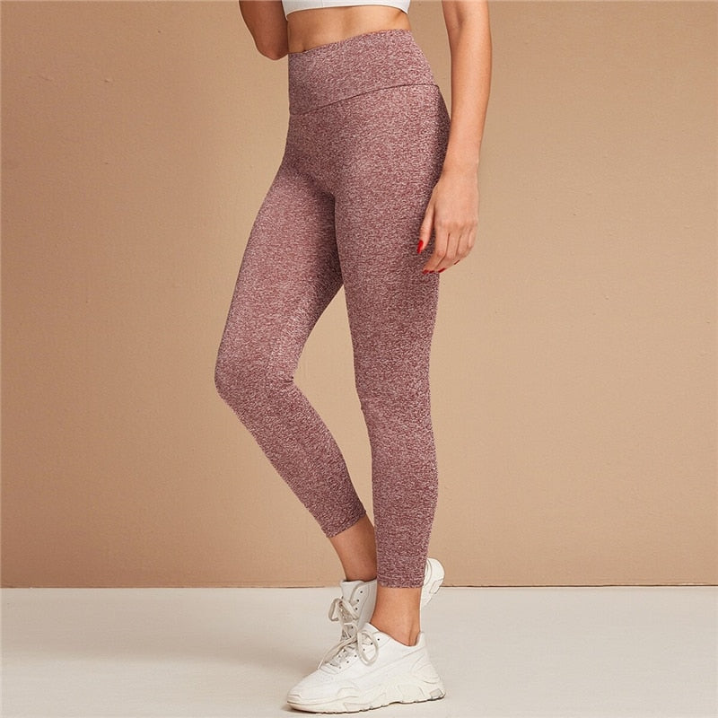 Women Burgundy Wide Waistband Space Dye Stretchy Mid Waist Sporting Leggings (wo1) - MARI MAR SHOP