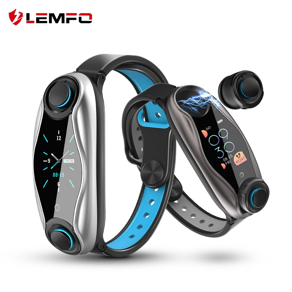 LEMFO LT04 Fitness Bracelet Wireless Bluetooth Earphone 2 In 1 Bluetooth 5.0 Chip IP67 Waterproof Sport Smart Watch - MARI MAR SHOP