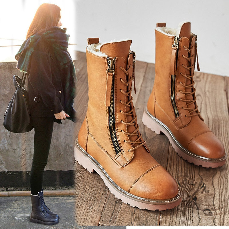 New 2020 Warm Winter Snow  Women Boots Shoes Flat with Shoe - MARI MAR SHOP