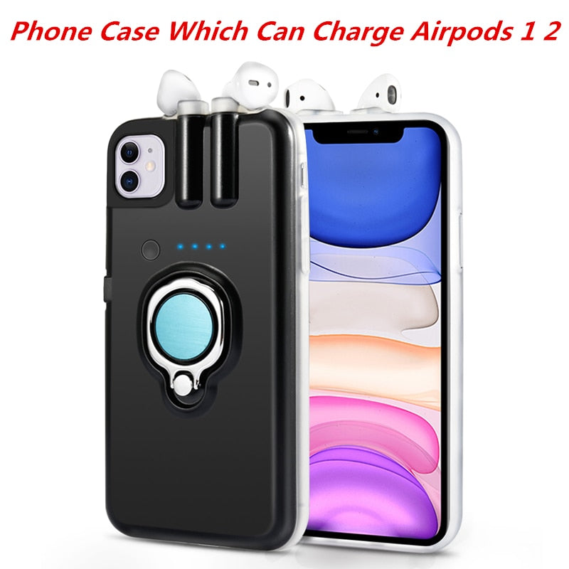 iPhone 11 11 Pro 11 Pro Max Case Xs Max Xr X 8 7 6 6s Plus Finger Ring Holder Case For AirPods Charging Case - MARI MAR SHOP