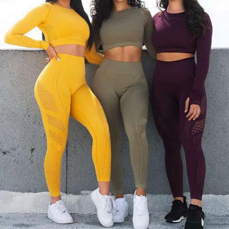 Women Seamless Yoga Sets High Waist Gym Mesh Leggings Shirts Suit Long Sleeve Fitness Workout Sports Running (wo1)