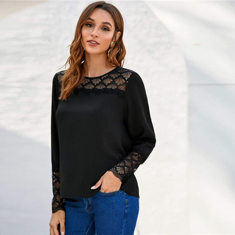 Women 2020 Spring Blouse Long Sleeve O-neck Ladies Elegant Blouses(wo1) - MARI MAR SHOP