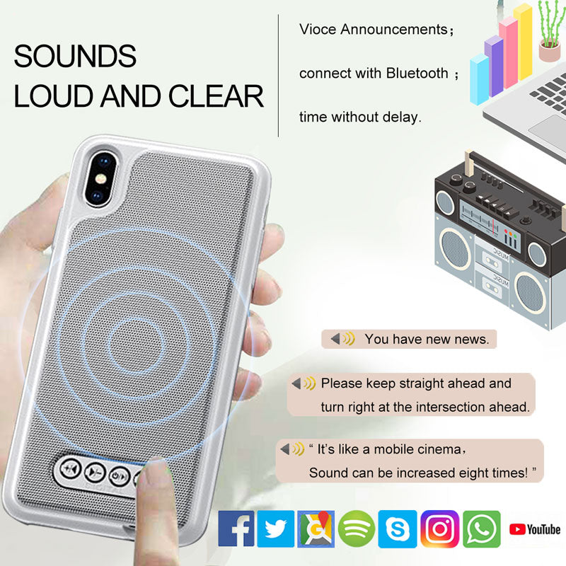 IOS iPhone 3 in 1 Bluetooth Speaker Phone Case V4.2 Bluetooth Speaker Case TPU Hard Shell Power Bank Case - MARI MAR SHOP