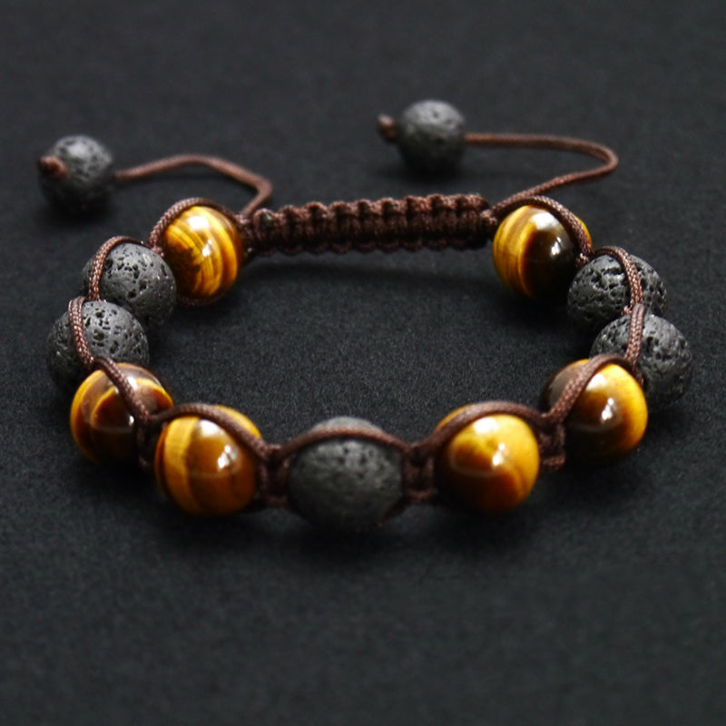 Black Volcanic Lava Stone Tiger Eye 12mm Beaded Bracelet Jewelry - MARI MAR SHOP