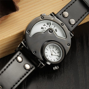 Luxury Army Military Dual Time Movement Mens Leather Starp Quartz Wrist Watch - MARI MAR SHOP