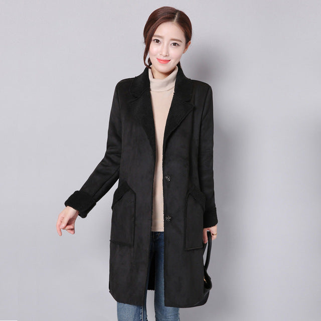 Women Winter Jacket Suede Lambs Wool Coat Thick Cotton Padded Maxi Coats (wo1) - MARI MAR SHOP