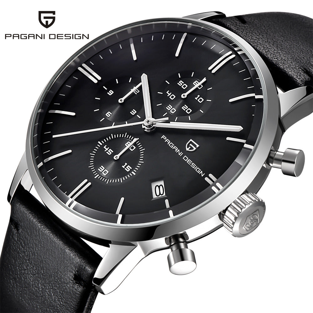Luxury PAGANI DESIGN Genuine Leather Sport Military Quartz Watch For Men - MARI MAR SHOP