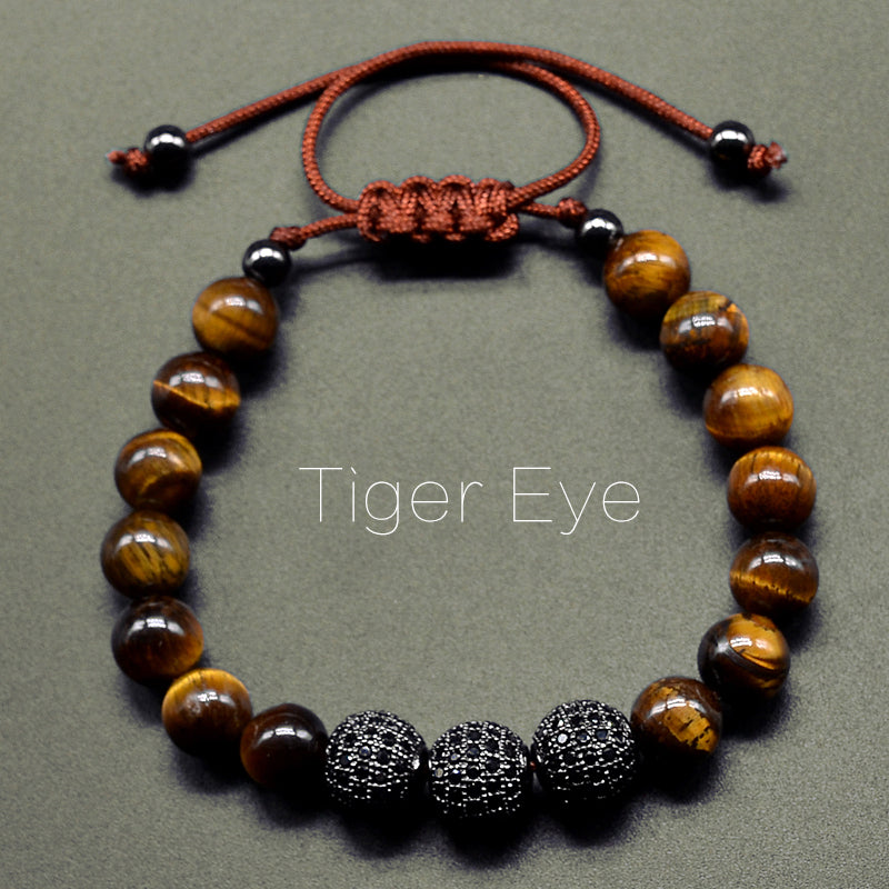 Tiger Eye Stone & Micro Pave Beads Braiding Bracelet Jewelry - MARI MAR SHOP