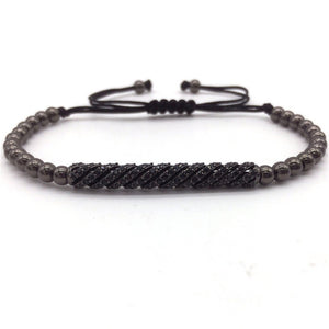 New Trendy Braided Bracelets & Bangles CZ Long Tubes &4MM Copper Beads Macrame Jewelry - MARI MAR SHOP