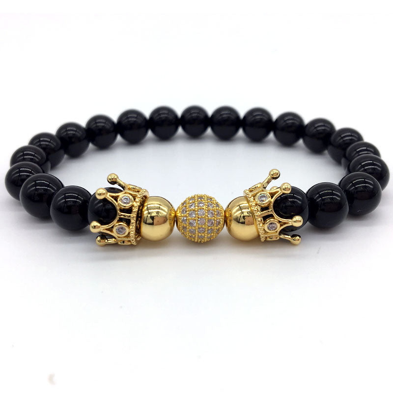 Crown Bracelets & Ball Armband Stone Beaded Bracelets Jewelry - MARI MAR SHOP