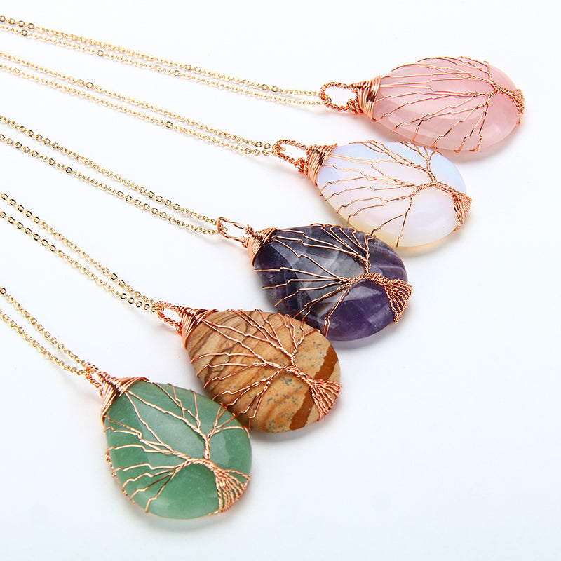 Natural Opal stone Handmade Tree of Life Wrapped Drop Shaped Crystal Necklace Jewelry - MARI MAR SHOP