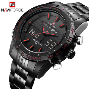 NAVIFORCE Men's Quartz Digital Analog Clock Man Full Steel Wrist Watch - MARI MAR SHOP