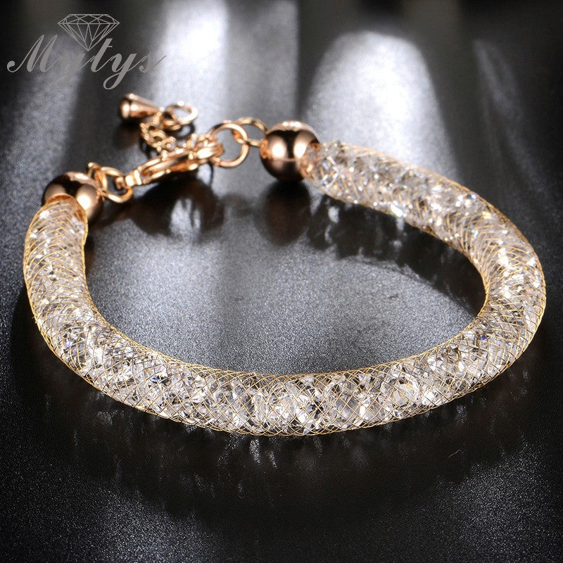 Rose Gold Wire Mesh Chain bracelet Tube Net Chain GP Cubic Zirconia Women Jewelry - MARI MAR SHOP