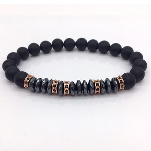 Pave CZ 8mm Matte Beads with Hematite Bead Diy Charm Bracelet For Men Jewelry - MARI MAR SHOP