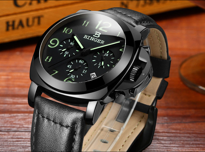 Genuine Swiss BINGER Brand automatic mechanical luminous waterproof sports watch - MARI MAR SHOP