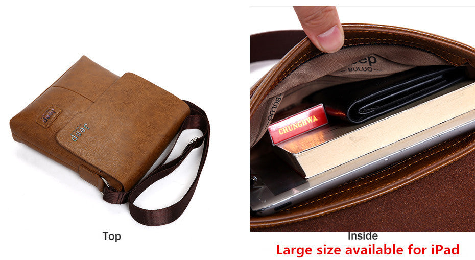 JEEP Leather Messenger Bag Male Cross Body Shoulder Business Bags - MARI MAR SHOP