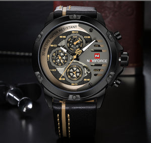 NAVIFORCE Luxury Waterproof Quartz Watch Man Leather Sport Wrist Watch - MARI MAR SHOP