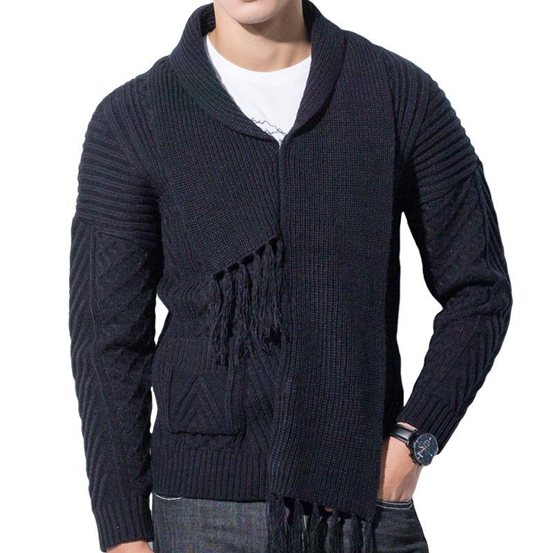 Winter Men Cardigan Coat Thicken Loose Fit Warm Turtleneck Sweater (tm1) - MARI MAR SHOP