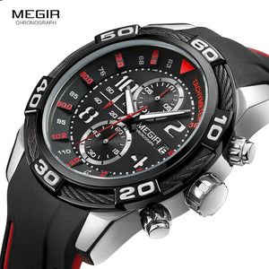 Megir Men's Black Silicone Sport watch - MARI MAR SHOP