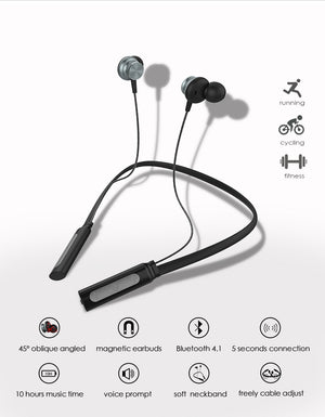 Neckband Bluetooth Earphone with Mic Waterproof Sports Wireless Headphone (cs1) - MARI MAR SHOP