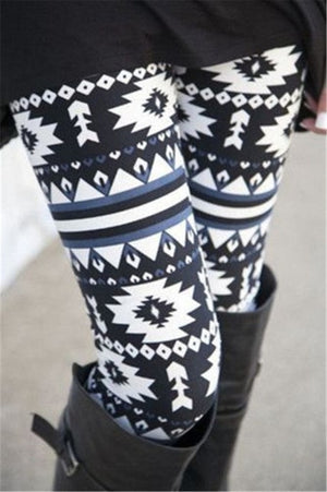 Women Autumn Winter Leggings Clothes Warm Slim Pants  Christmas Snowflake Leggings (wo1) - MARI MAR SHOP