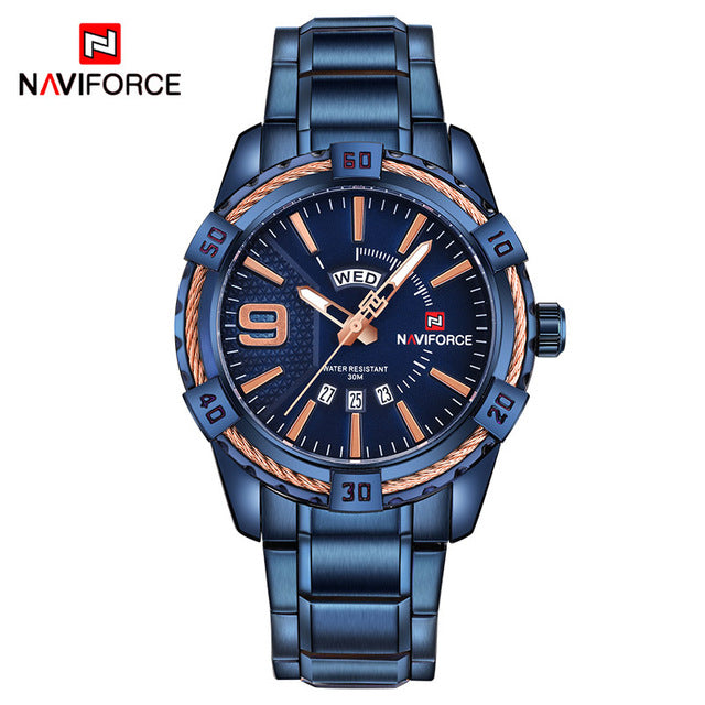 NAVIFORCE Men Military Stainless Steel Sports Watches - MARI MAR SHOP