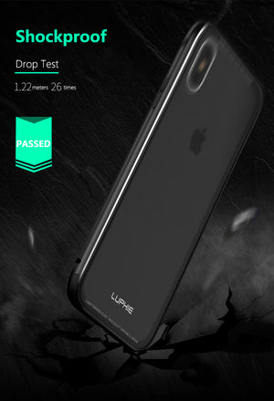 iPhone X (10) Luxury Hard Metal Aluminum Frame Tempered Glass Back Cover Case - MARI MAR SHOP