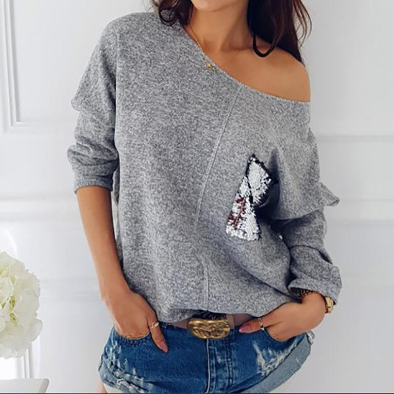 Women Slash Neck Sequined Pullover Knitting Sweaters (wo1) - MARI MAR SHOP