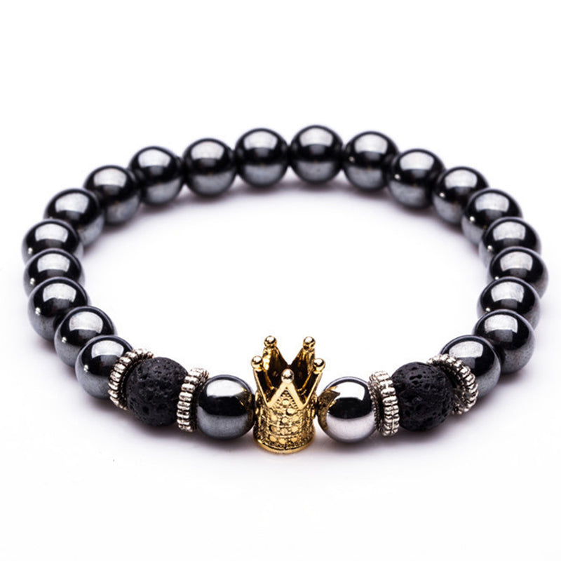 Golden & Black Crown Bracelets Natural Stone Beads  Women Men Jewelry - MARI MAR SHOP