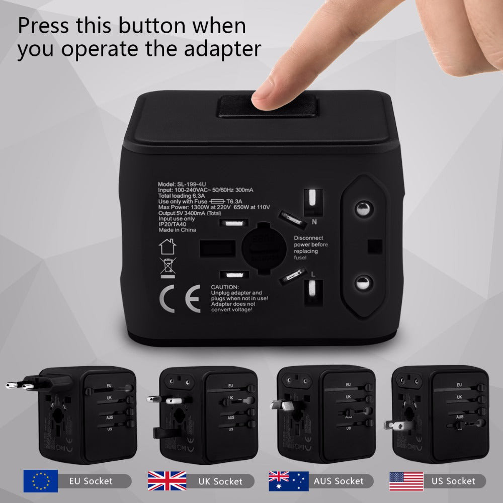 UK/EU/AU/Asia International Universal Adapter All-in-one with 3.4A 4 USB Worldwide Wall Charger - MARI MAR SHOP