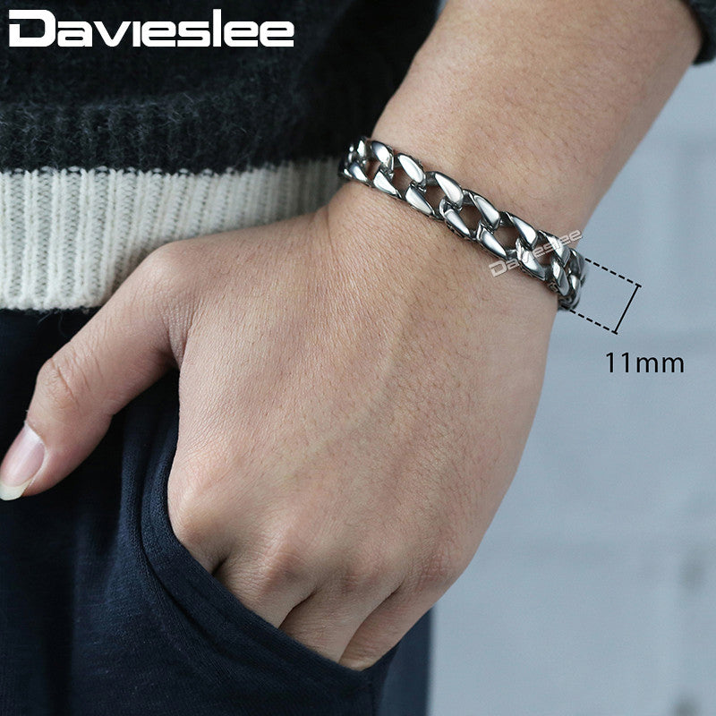 Men's Havy Stainless Steel Bracelet Curb Chain Jewelry - MARI MAR SHOP