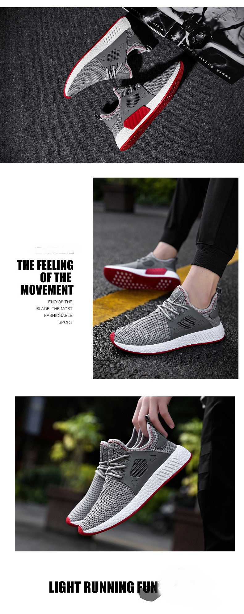 Breathable Light Soft Black Slipon Mens Shoes Trainers Sneakers - MARI MAR SHOP