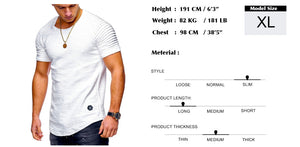 Men Short sleeve men t shirt Pleated shoulder Jacquard Striped Slim Fit t-shirt (tm1) - MARI MAR SHOP