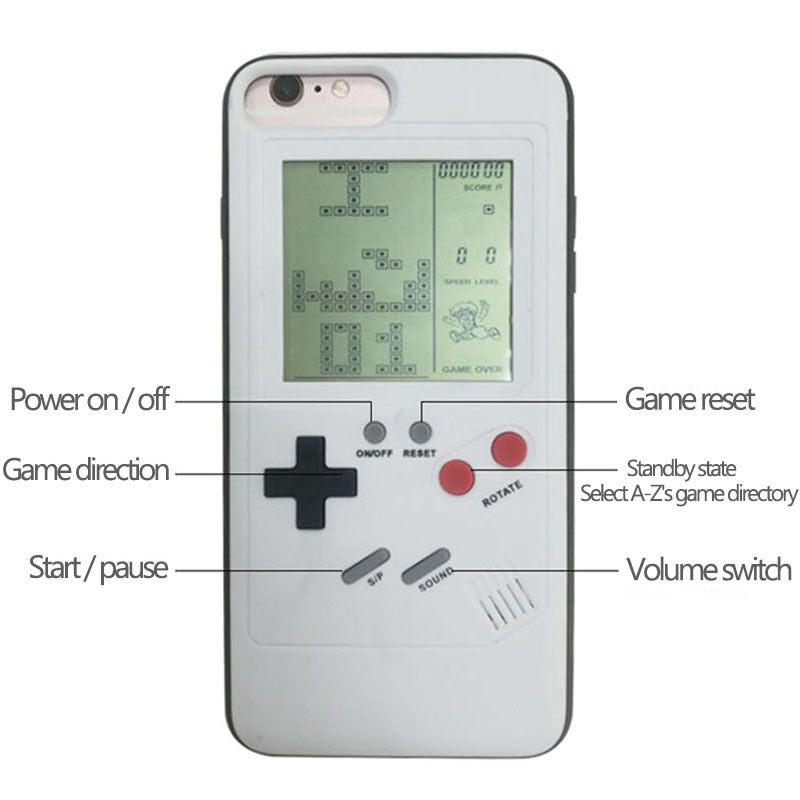 Ninetendo Tetris Gameboy Phone Case For iPhone 6 6S X 7 8 Plus Case Soft Edge Game Console Back cover - MARI MAR SHOP